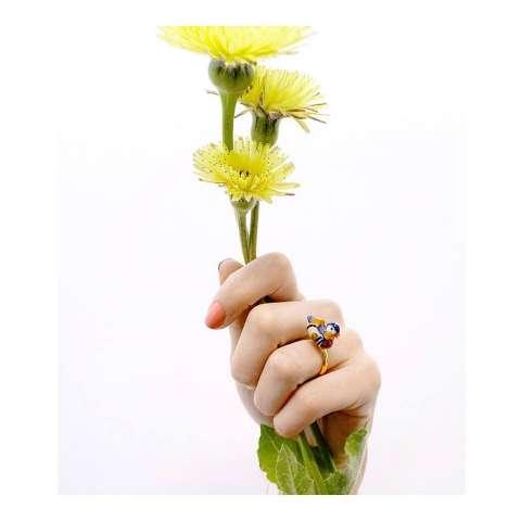 Anello regolabile in porcellana placcato oro Anatra Mandarina