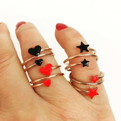 Anello regolabile spirale argento 925 oro rosa cuori neri