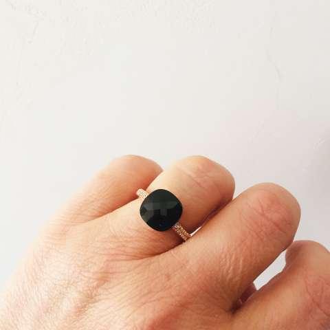 Anello regolabile Zirconato argento 925 oro rosa Nudo nero