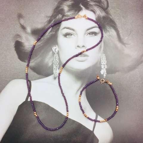 Bracciale Ametista viola e perline argento 925 oro rosa