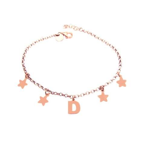 Bracciale argento 925 oro rosa lettera personalizzata nome e stelline