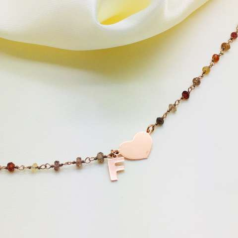 Rose gold sterling silver natural stones rosary + Heart and letter bracelet