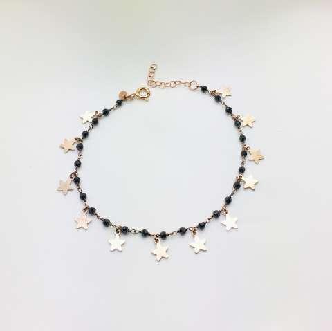 Bracciale argento 925 oro rosa rosario Spinelli neri e stelline