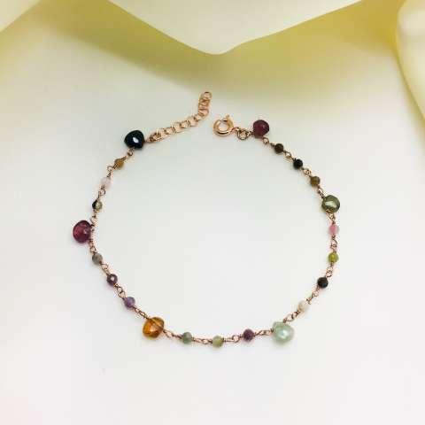 Bracciale argento 925 oro rosa Tormaline multicolor goccia