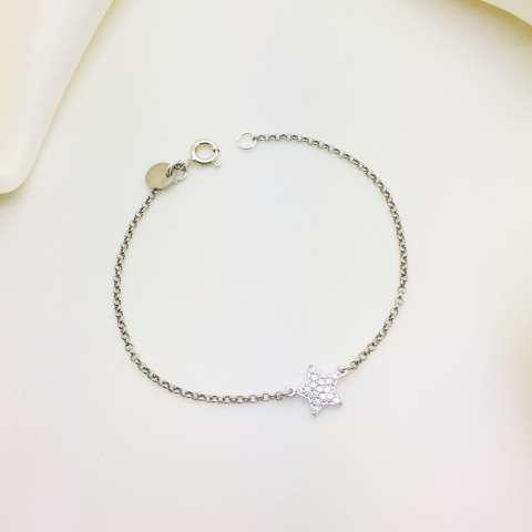 Bracciale argento 925 stella Zirconi