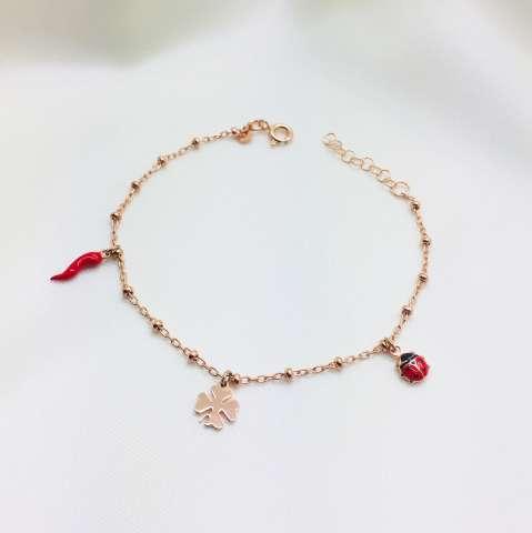 Bracciale Lucky rosario argento 925 oro rosa e charms