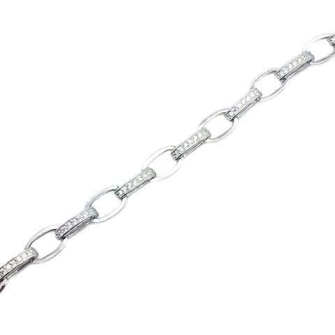 Bracciale maglia larga argento 925 Zirconi
