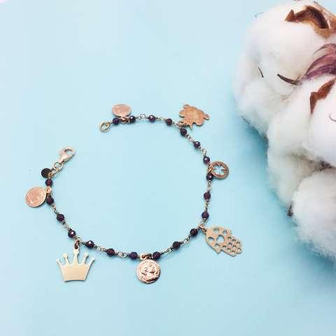 Bracciale rosario argento 925 oro rosa Granato rosso 7 charms