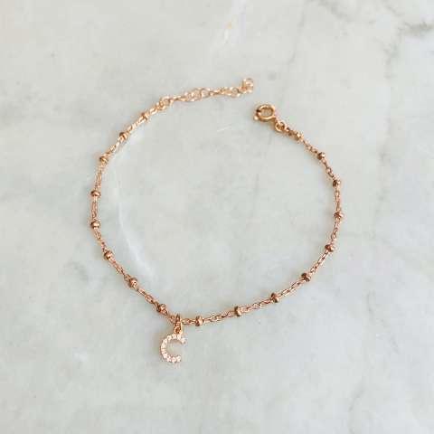 Bracciale rosario argento 925 oro rosa lettera iniziale nome Zirconi