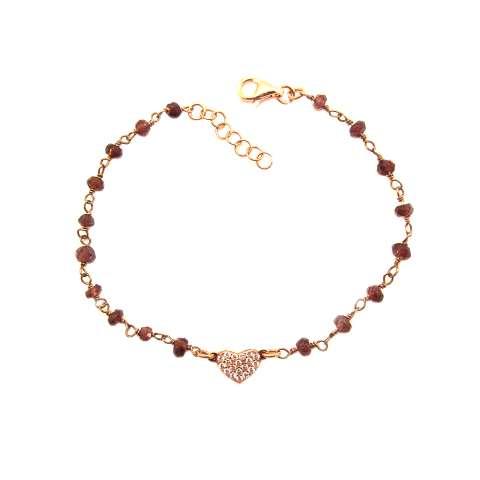 Bracciale rosario Granato rosso argento 925 oro rosa e cuore Zirconi