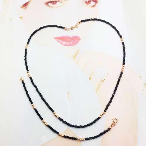 Bracciale Zirconi neri e perline argento 925 oro rosa