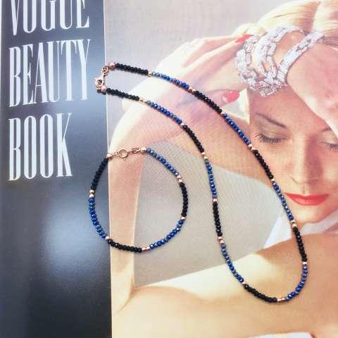 Bracciale Zirconi neri, Tanzanite blu e perline argento 925 oro rosa