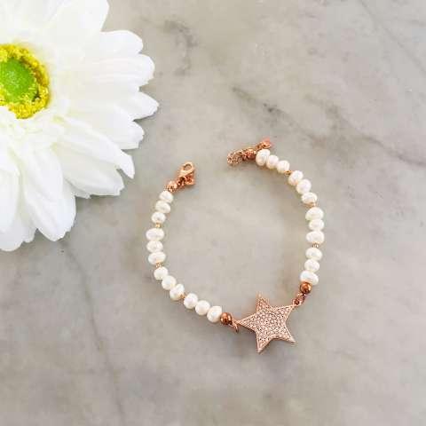 Braccialetto Perle di fiume maxi stella Zirconi
