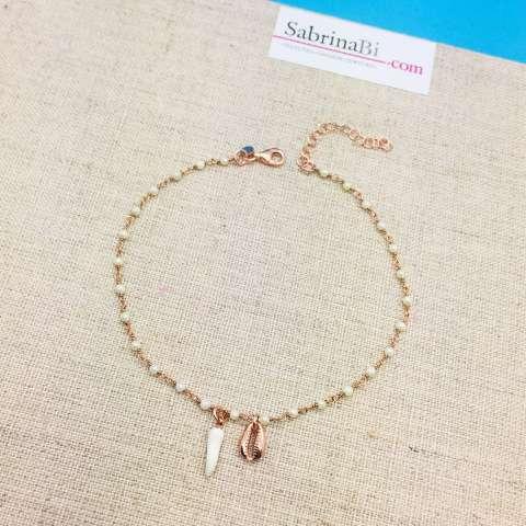 Cavigliera rosario argento 925 oro rosa Perle, cornetto e conchiglia