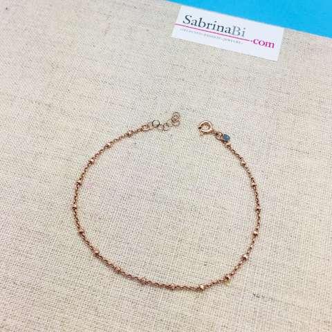 Cavigliera rosario argento 925 oro rosa