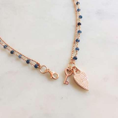 Collana 2 usi rosario Lapis argento 925 oro rosa Cuore e chiave
