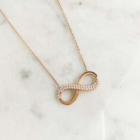 Collana argento 925 oro rosa Infinito