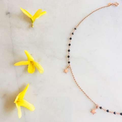 Collana argento 925 oro rosa inserti rosario e stelline