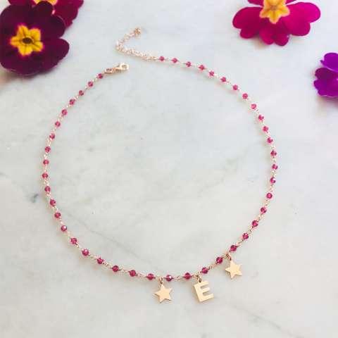 Collana argento 925 oro rosa rosario Rubino lettera e stelle