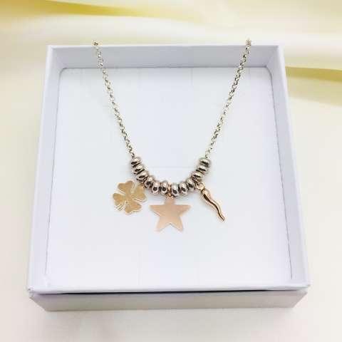 Collana argento 925 rondelle e lucky charms