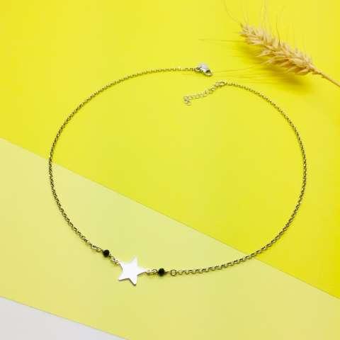 Collana argento 925 Stella e Spinelli neri