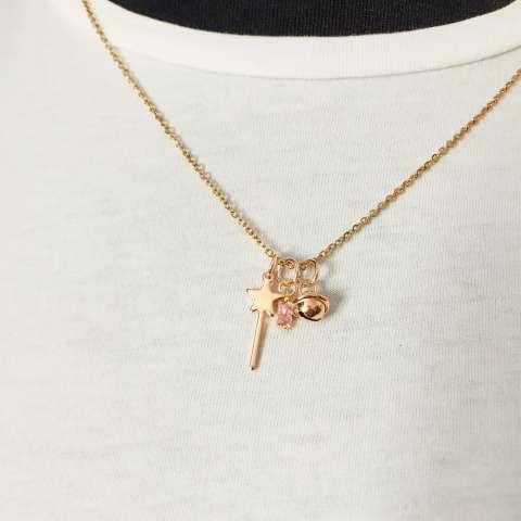 Collana bacchetta magica, campanellino e punto luce Zircone rosa