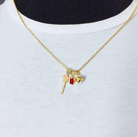 Collana bacchetta magica, campanellino e punto luce Zircone rosso