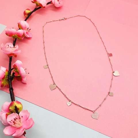 Medium necklace silver Hearts