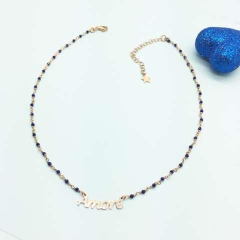 Collana choker argento 925 oro rosa rosario Lapis blu Amore