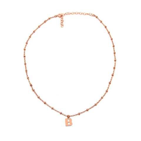 Collana choker argento 925 rosario oro rosa lettera iniziale nome