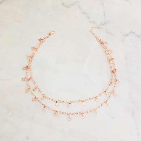 Collana doppia argento 925 oro rosa All stars