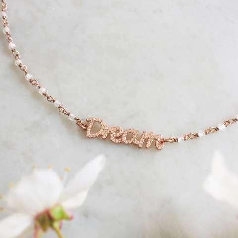 Collana Dream argento 925 oro rosa rosario Pietra di luna