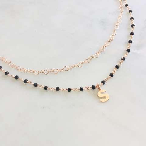 Collana due fili rosario Spinelli neri argento 925 oro rosa Lettera e cuori