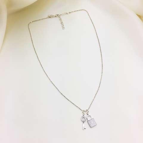 Collana girocollo argento 925 Chiave e lucchetto Zirconi