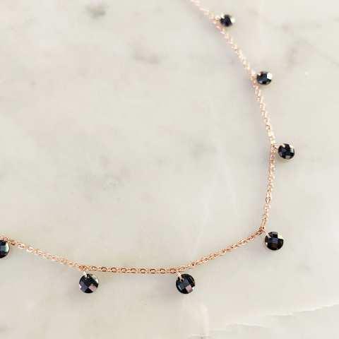 Collana girocollo argento 925 oro rosa cascata Zirconi neri