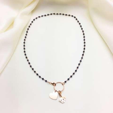 Collana girocollo argento 925 oro rosa rosario Lapis blu Love my dog