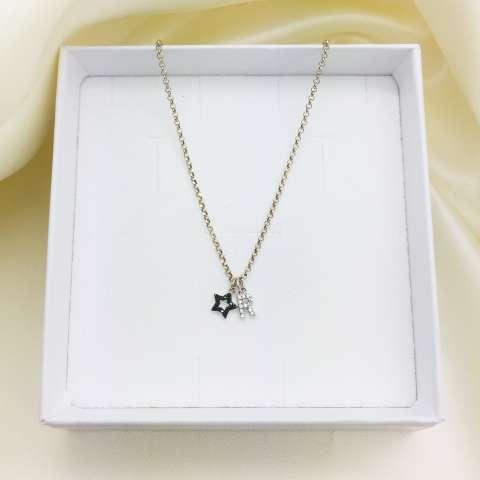Collana girocollo argento 925 stellina Zirconi neri e lettera