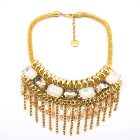 Collana girocollo oro cristalli opalescenti e bronzo e frangia