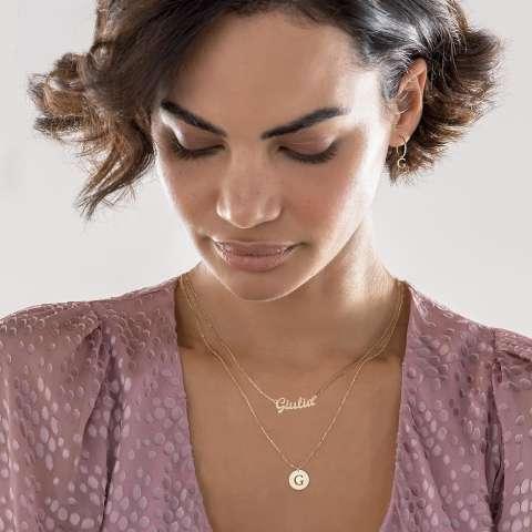 Collana girocollo personalizzabile con nome corsivo oro 9K