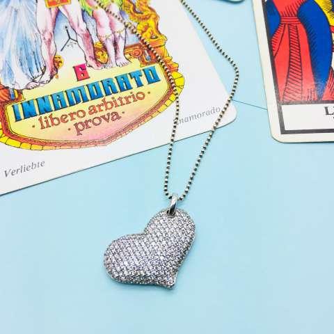 Collana lunga argento 925 Big Heart Zirconi
