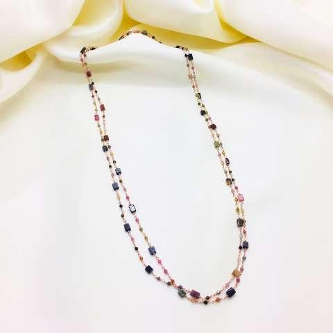 Collana lunga argento 925 oro rosa Tormaline multicolor quadrate