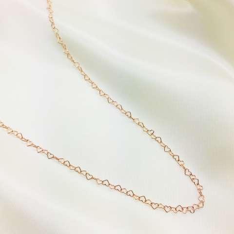Collana lunga catena a cuore piccolo argento 925 oro rosa