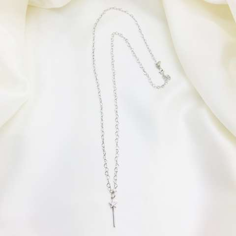 Collana lunga catena cuori argento 925 Bacchetta magica