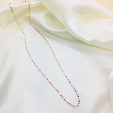 Collana lunga catena rettangolare argento 925 oro rosa