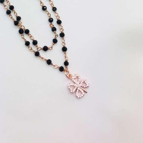 Collana lunga rosario argento 925 oro rosa Spinelli neri Quadrifoglio