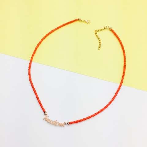 Collana micro perline arancioni Freedom