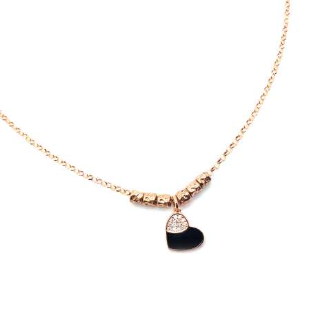 Rose gold sterling silver nuggets Black Heart necklace