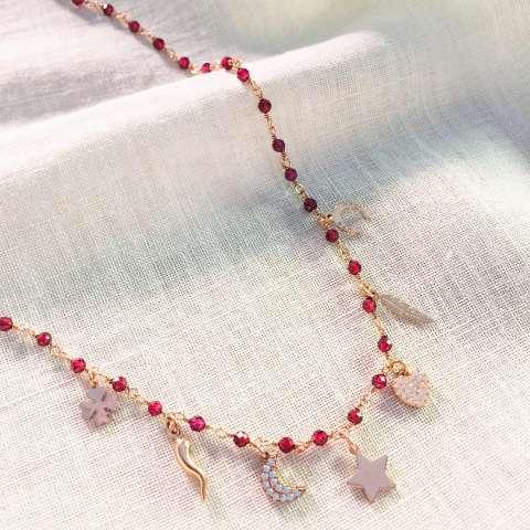 Collana rosario argento 925 oro rosa Granato rosso charms