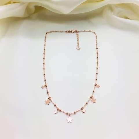Collana rosario argento 925 oro rosa stelle alternate