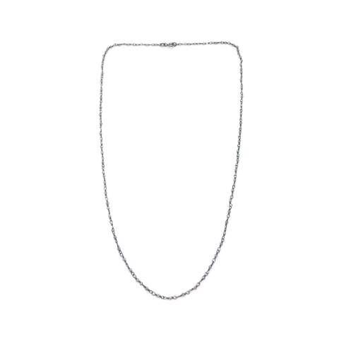 Collana uomo argento 925 rodiato catena micro rosario Pietra di Luna